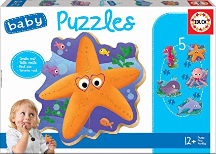 Image of   Baby Puzzles - Sea Animals, 2-4 brikker