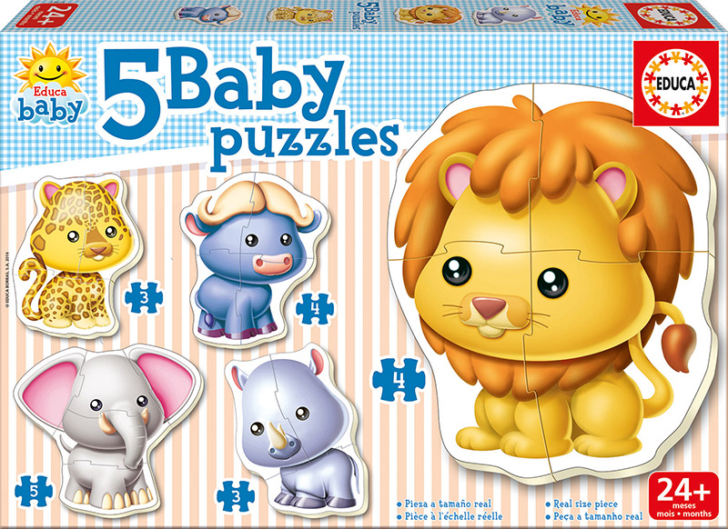 Image of   Baby Puzzles - Wild Animals, 3-5 brikker