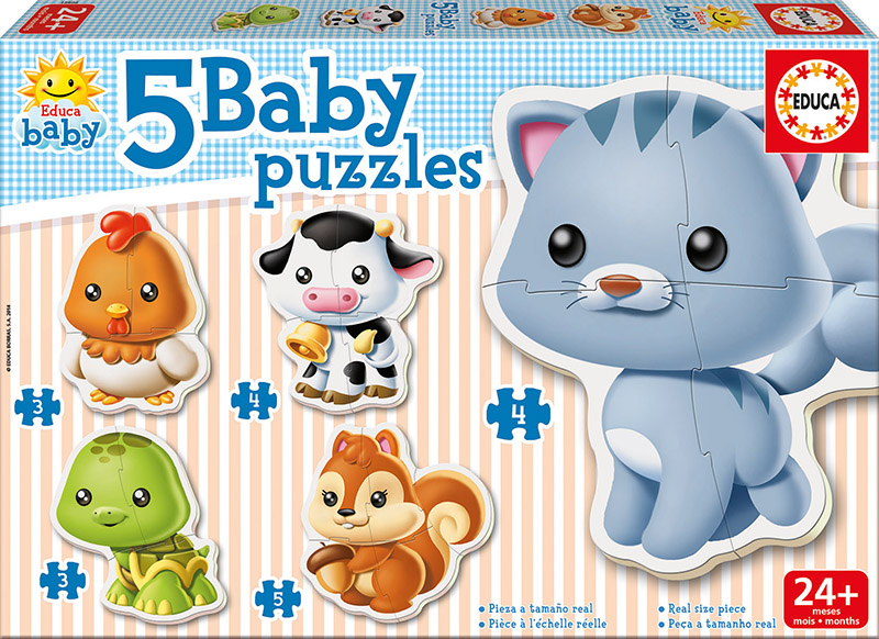 Image of   Baby Puzzles - Animals, 3-5 brikker