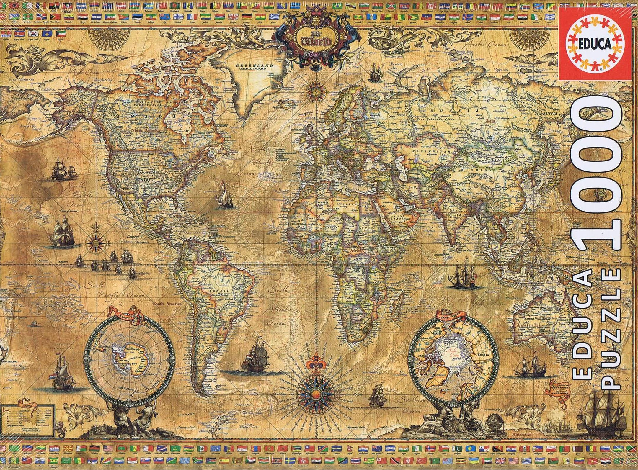 Image of   Antique World Map, 1000 brikker