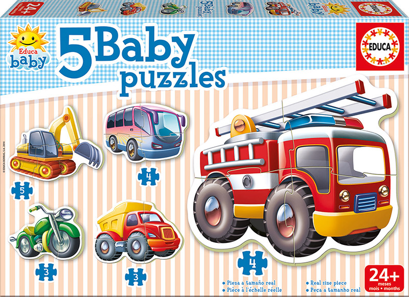 Image of   Baby Puzzles - Vehicles, 3-5 brikker