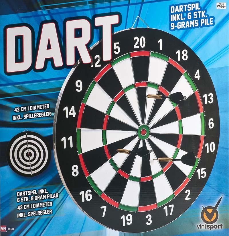 Stort Dartspil med 6 Pile